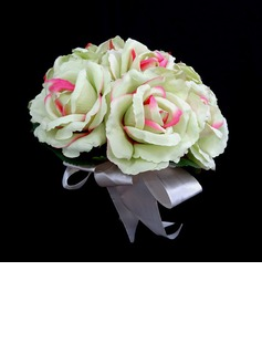 Girly de Rond Satin Bouquets de Demoiselle D'honneur (123031366)
