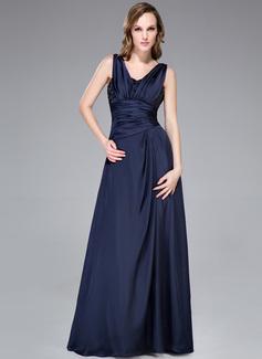 A-Linie/Princess-Linie V-Ausschnitt Bodenlang Satin-Chiffon Abendkleid mit Rüschen Perlen verziert (008040833)
