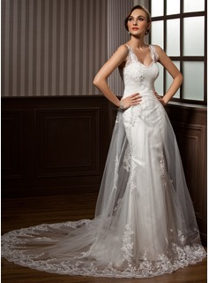 A-Line/Princess Sweetheart Chapel Train Tulle Wedding Dress With Ruffle Lace (002011450)