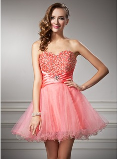 Sweet Sixteen Dresses A-Line/Princess Sweetheart Short/Mini Taffeta Tulle Homecoming Dress With Ruffle Beading (022010534)