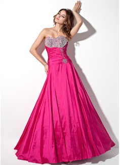 A-Linie/Princess-Linie Herzausschnitt Bodenlang Taft Quinceañera Kleid (Kleid für die Geburtstagsfeier) mit Rüschen Perlen verziert (021017444)