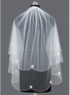Two-tier Elbow Bridal Veils With Pearl Trim Edge (006035431)