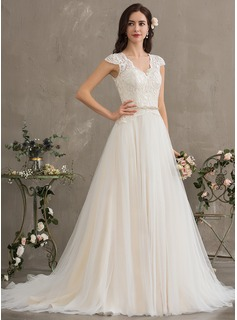 Ball-Gown/Princess V-neck Court Train Tulle Wedding Dress With Beading Sequins (002186364)