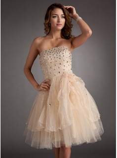 A-Line/Princess Strapless Knee-Length Organza Satin Tulle Homecoming Dress With Beading Flower(s) (022016378)