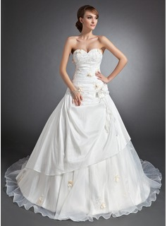 Ball-Gown Sweetheart Cathedral Train Taffeta Wedding Dress With Ruffle Appliques Lace Flower(s) (002015112)