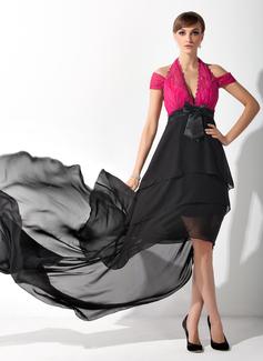 A-Linie/Princess-Linie Träger Asymmetrisch Chiffon Spitze Kleid für die Brautmutter mit Rüschen Schleife(n) (008015145)