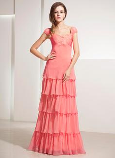 A-Linie/Princess-Linie Herzausschnitt Bodenlang Chiffon Festliche Kleid mit Spitze Gestufte Rüschen (020014197)