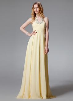 Forme Princesse Dos nu Longueur ras du sol Mousseline Robe de soirée avec Plissé Emperler (017004459)