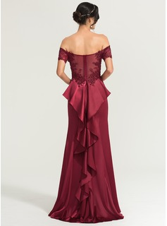 Sheath/Column Off-the-Shoulder Sweep Train Satin Evening Dress With Sequins Split Front (017167714)