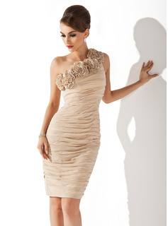Sheath One-Shoulder Knee-Length Chiffon Cocktail Dress With Ruffle Flower(s) (016008270)