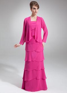 A-Linie/Princess-Linie Rechteckiger Ausschnitt Bodenlang Chiffon Kleid für die Brautmutter mit Gestufte Rüschen (008006004)