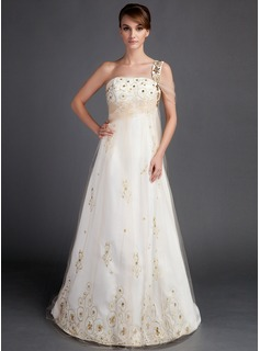 A-Line/Princess One-Shoulder Court Train Satin Tulle Wedding Dress With Ruffle Beading (002015906)