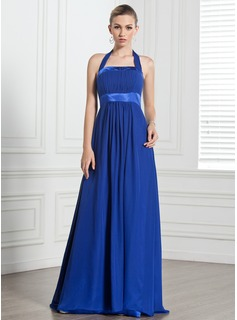 Empire Halter Floor-Length Chiffon Charmeuse Bridesmaid Dress With Ruffle Bow(s) (007000868)