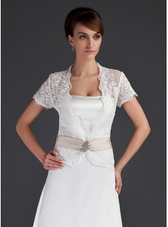 Short Sleeve Lace Wedding Wrap (013043085)