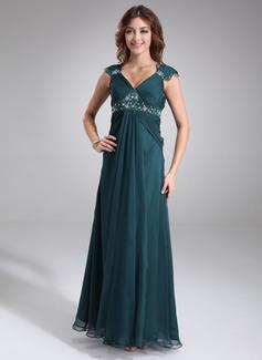 Empire-Linie V-Ausschnitt Bodenlang Chiffon Brautjungfernkleid Für Schwangere mit Rüschen Lace Perlstickerei (045022468)