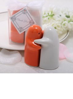 White & Orange Ceramic Salt & Pepper Shakers (Set of 2 pieces) (051024588)