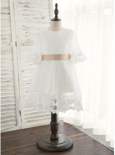 A-Line Knee-length Flower Girl Dress - Satin/Tulle 1/2 Sleeves Scoop Neck With Sash/Bow(s) (010172381)