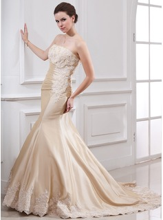 Mermaid Strapless Court Train Taffeta Wedding Dress With Ruffle Lace Beadwork (002000059)