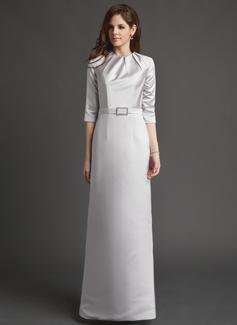 Etui-Linie U-Ausschnitt Bodenlang Satin Kleid für die Brautmutter mit Rüschen Kristalle Blumen Brosche (008006184)