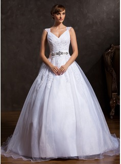 Ball-Gown V-neck Court Train Organza Satin Wedding Dress With Ruffle Lace Beading (002015169)