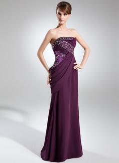 Etui-Linie Trägerlos Bodenlang Chiffon Abendkleid mit Rüschen Perlen verziert (017025911)