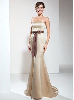Trumpet/Mermaid Strapless Sweep Train Satin Bridesmaid Dress With Sash (007000897)