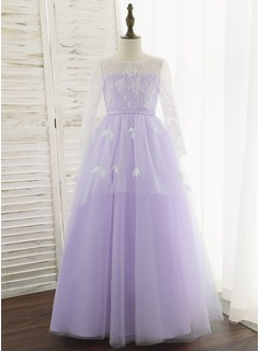 Ball-Gown/Princess Floor-length Flower Girl Dress - Tulle/Lace Long Sleeves Scoop Neck With Flower(s) (010172365)