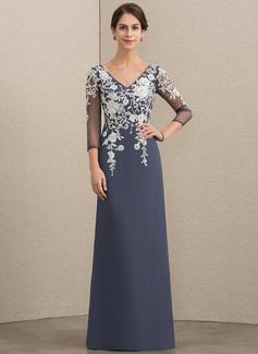 A-Linie/Princess-Linie V-Ausschnitt Bodenlang Chiffon Spitze Kleid für die Brautmutter (008164076)