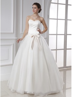 Ball-Gown Sweetheart Floor-Length Organza Satin Wedding Dress With Sash Bow(s) (002015478)
