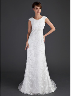 Sheath/Column Scoop Neck Court Train Satin Tulle Lace Wedding Dress With Ruffle Beadwork (002001630)