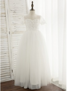 Ball-Gown/Princess Floor-length Flower Girl Dress - Tulle/Lace Short Sleeves Scoop Neck With Sequins (010172343)