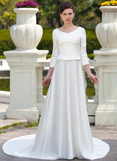 Forme Princesse Col rond Traîne mi-longue Satiné Robe de mariée avec Broderie Emperler (002012641)