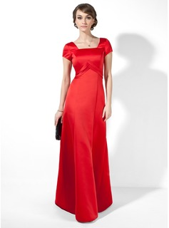 A-Line/Princess Square Neckline Floor-Length Satin Evening Dress With Ruffle (017039555)