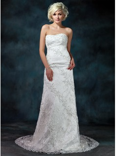 Sheath/Column Sweetheart Chapel Train Satin Lace Wedding Dress With Beadwork Sequins (002000175)