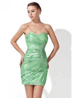 Sheath Sweetheart Short/Mini Taffeta Cocktail Dress With Ruffle Beading (016013111)