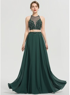 A-Line Scoop Neck Floor-Length Chiffon Prom Dresses With Beading Sequins (018192346)