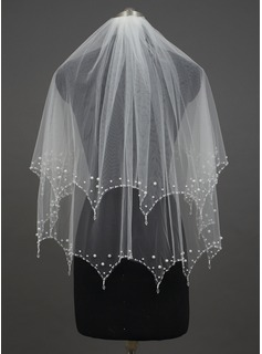 Two-tier Fingertip Bridal Veils With Pearl Trim Edge (006034417)