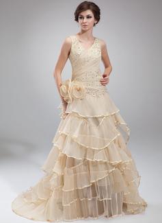 A-Linie/Princess-Linie V-Ausschnitt Hof-schleppe Organza Festliche Kleid mit Perlen verziert Applikationen Spitze Blumen Gestufte Rüschen Gefaltet (020025967)