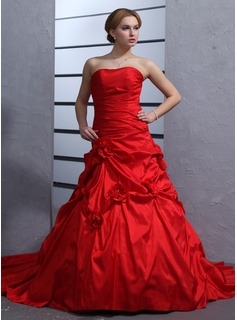 Ball-Gown Sweetheart Cathedral Train Taffeta Wedding Dress With Ruffle Flower(s) (002011969)