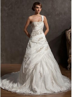Ball-Gown One-Shoulder Cathedral Train Taffeta Organza Wedding Dress With Beading (002014884)