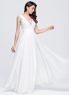 A-Line/Principessa Scollatura a V A terra Chiffona Abiti da sposa con Increspature (002118451)
