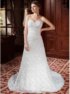 A-Line/Princess Sweetheart Court Train Chiffon Lace Wedding Dress With Ruffle Flower(s) (002024458)