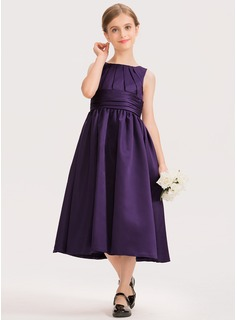 A-Line Scoop Neck Tea-Length Satin Junior Bridesmaid Dress With Ruffle (009191698)