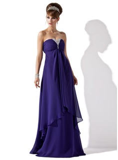 A-Line/Princess Strapless Floor-Length Chiffon Evening Dress With Ruffle Beading (017013796)