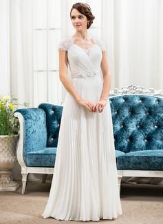 Corte A/Princesa Escote corazón Hasta el suelo Chifón Satén Encaje Vestido de novia con Bordado Flores Lentejuelas Plisado (002056475)