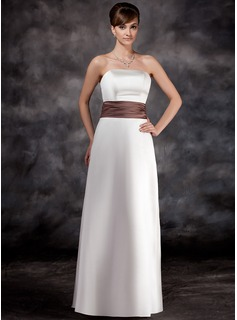 A-Line/Princess Strapless Floor-Length Satin Bridesmaid Dress With Ruffle Sash (007001774)