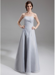 A-Line/Princess Strapless Floor-Length Organza Bridesmaid Dress (007016732)