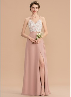 A-Line V-neck Floor-Length Chiffon Lace Bridesmaid Dress With Split Front (007176765)