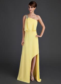 A-Linie/Princess-Linie One-Shoulder-Träger Asymmetrisch Chiffon Festliche Kleid mit Perlen verziert (008015651)