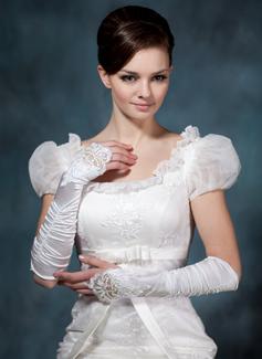 Satén elástico Codo Largo Guantes de novia (014020479)